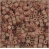 Square Beads 3.4x3.4mm Round Hole Pink Luster Matte